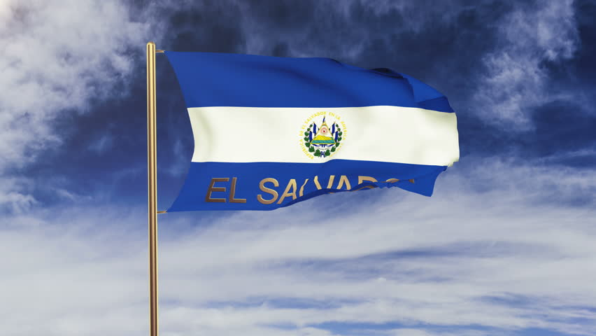 El Salvador flag with title waving in the wind. Looping sun rises style.  Animation loop | Shutterstock HD Video #9390368
