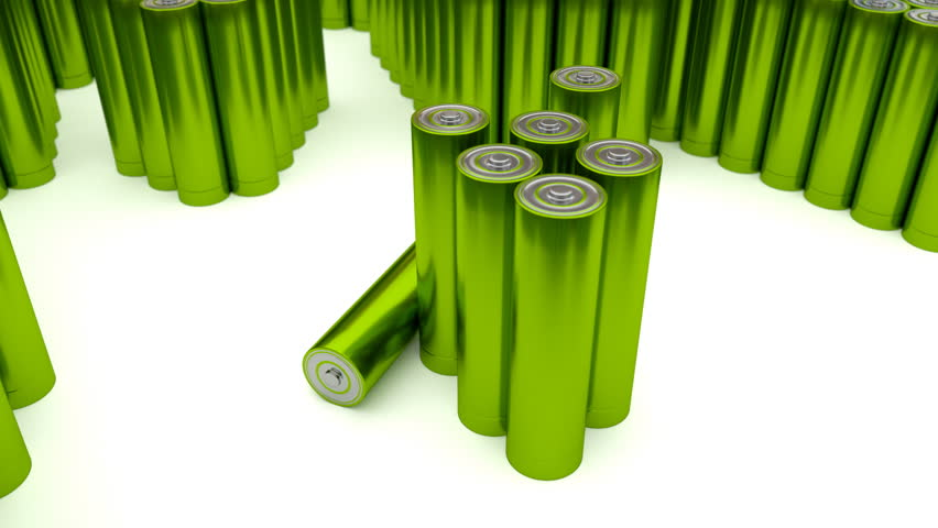 Animated plain, yellow-green (Stripped from label) AA batteries on white background 2. Full 360 Degree rotation (tracking) and loop. Additional batteries in the background and foreground.
