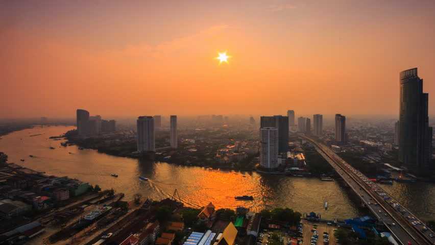 4K.TimeLapse  Landscape sunset at bangkok city Asia Thailand. video footage 4096x2304 | Shutterstock HD Video #9440588