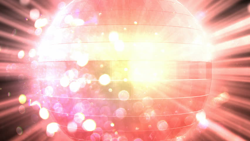 Disco ball, disco lights. A disco ball shines with flares in the middle of the screen. 