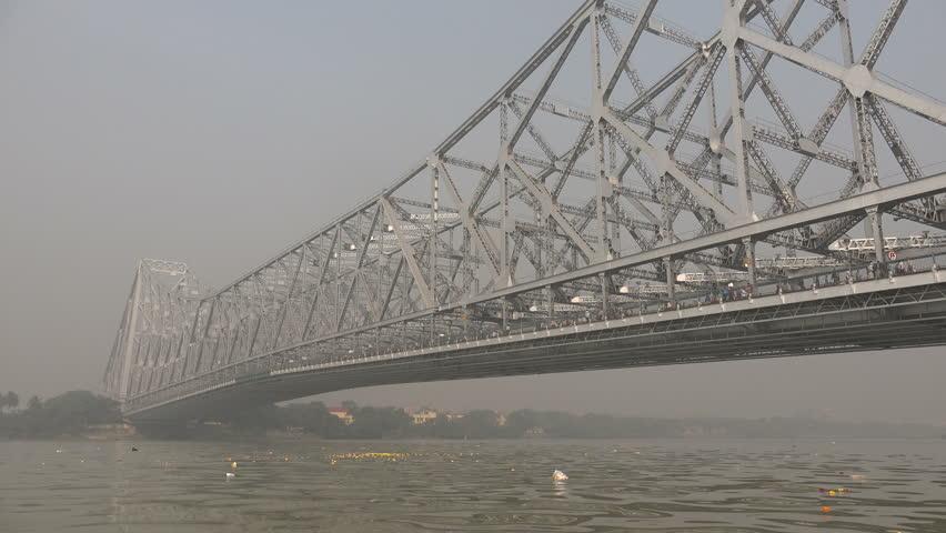 KOLKATA, INDIA - 9 DECEMBER 2014: Overview of the Howrah bridge in Kolkata. - 4K stock footage clip