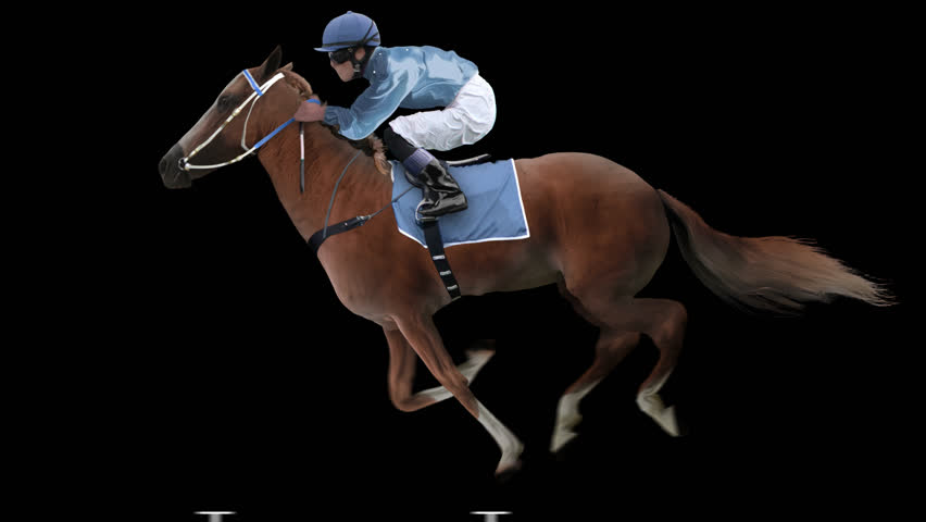 Jockey riding a red horse runs gallop. Isolated and cyclic. Can be used as a silhouette.