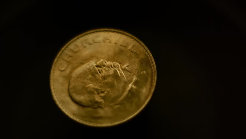 1 krone coin in 1965 with the image of Winston Churchill rotates