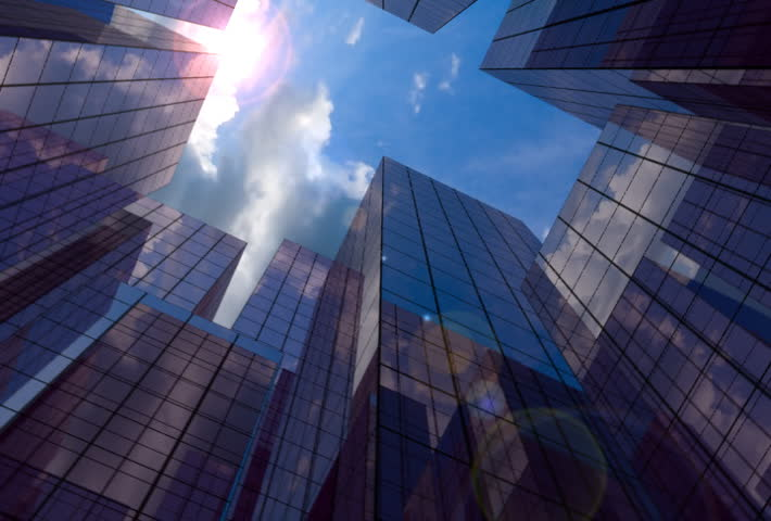 20 Seconds loop of corporate buildings with lens reflections - SD stock footage clip