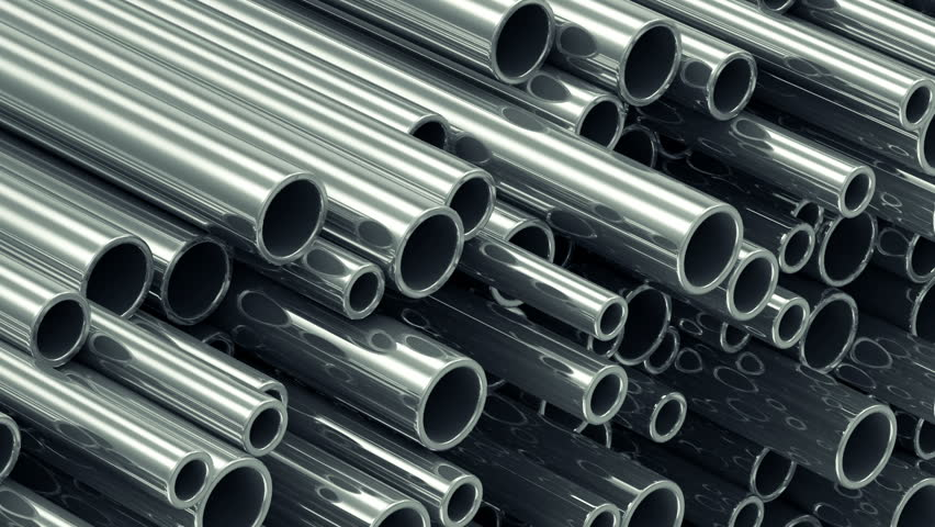 Close-up View of Looping Animation of Stack Steel Metal Tubes. Full HD 1920x1080 Video Clip
