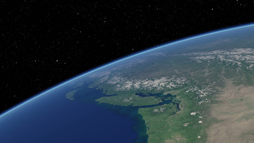 Simulated International Space Station earth orbit flyover of the North American Pacific coast, from Seattle to San Francisco (cloudless). Available in UHD and DCI 2K/4K sizes, by request. - HD stock footage clip