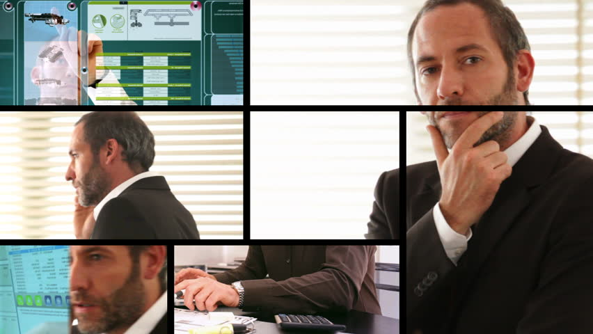 Composition of different business screens with businessman - HD stock footage clip