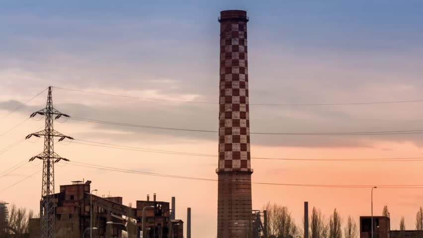 Time lapse old facory smokestack - HD stock footage clip