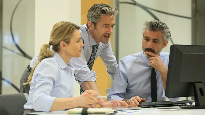 Diverse Group Of Office Workers At Laptop Stock Footage ...  Diverse Group O...
