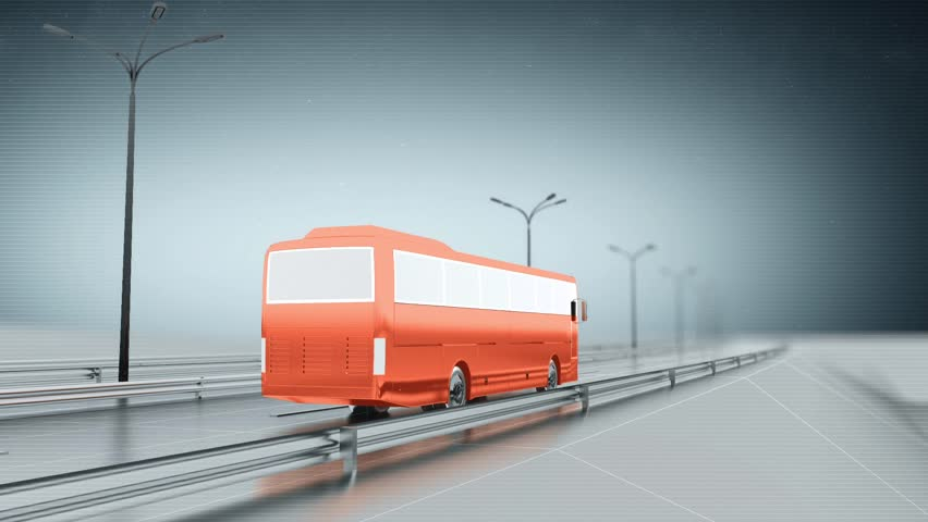Orange public bus on a highway. Back view. Looping animation background. | Shutterstock HD Video #9681743