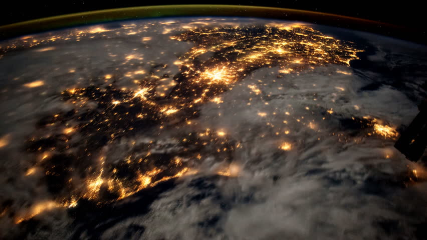 Ending with glare and streaks of light, view from the ISS International Space Station of planet earth some creative modifications added.Elements of this image provided by NASA (public domain images)