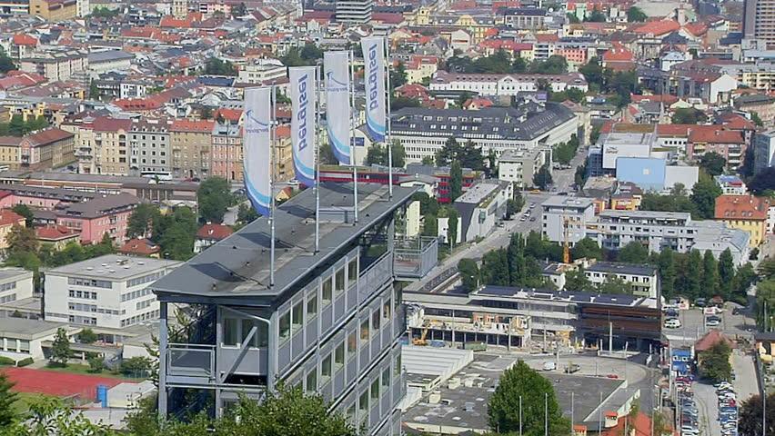 Aerial Shot of Innsbruck, Austria - HD stock footage clip