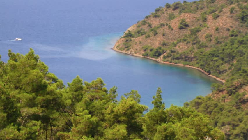 Aerial static view of Amazon Bay of Marmaris in Turkey Country. Mediterranean Sea and gentle sound of the surf can be heard along with the songs of the crickets