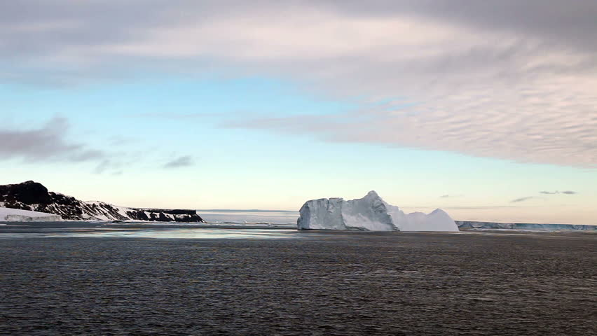 Icebergs in Antarctica at Dusk  - HD stock footage clip