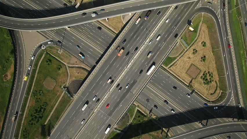 Aerial view of highway interchange in Moscow city, Russia - HD stock footage clip