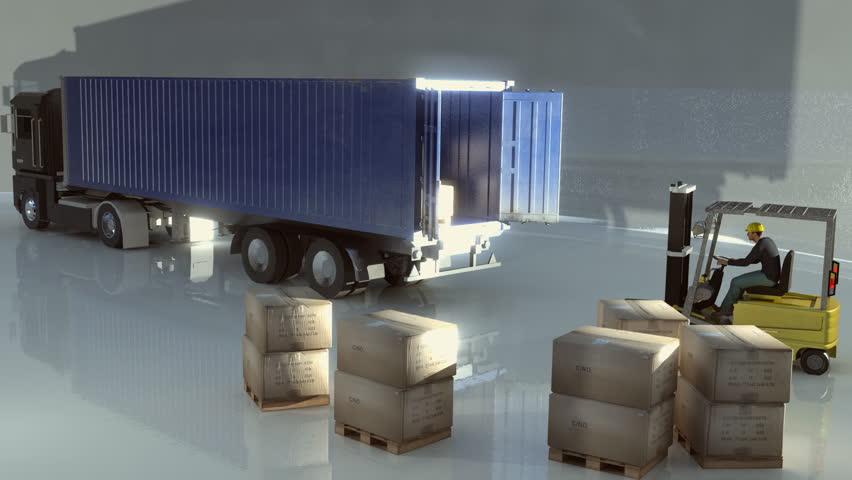 lorry or truck being loaded by fork lift truck