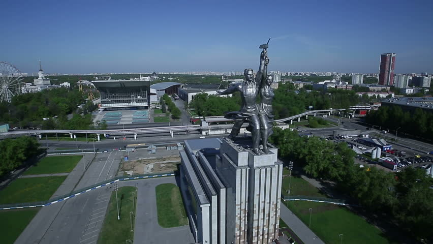 Monument Worker and Kolkhoz Woman in Moscow. Russia, aerial view - HD stock video clip