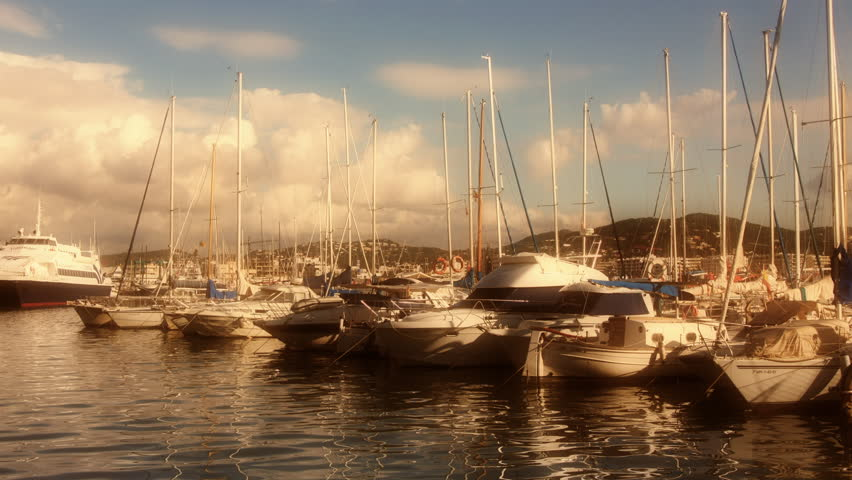 timelapse of boats in the marina, ibiza town, spain - HD stock video clip