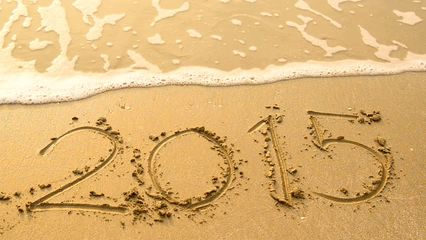 2015 washed away by a wave on tropical beach. New Year Celebration.  - HD stock video clip