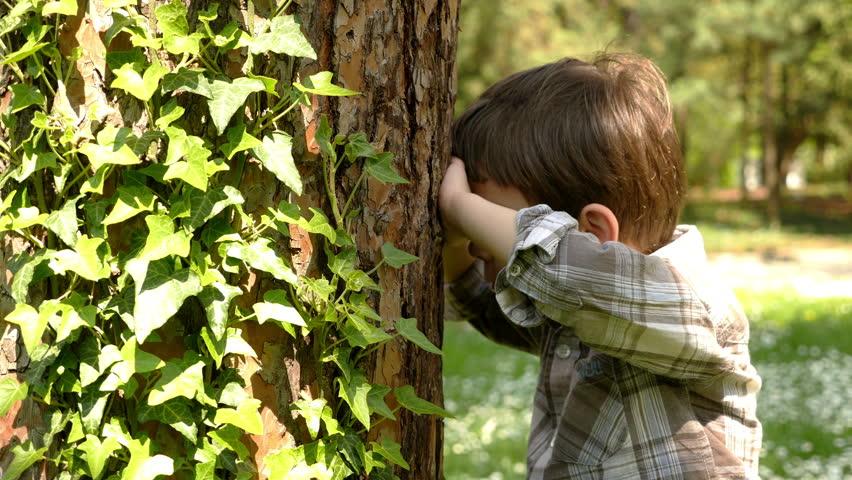 Hide Seek Kids: A Little Boy Playing Hide And Seek Game. Recreation