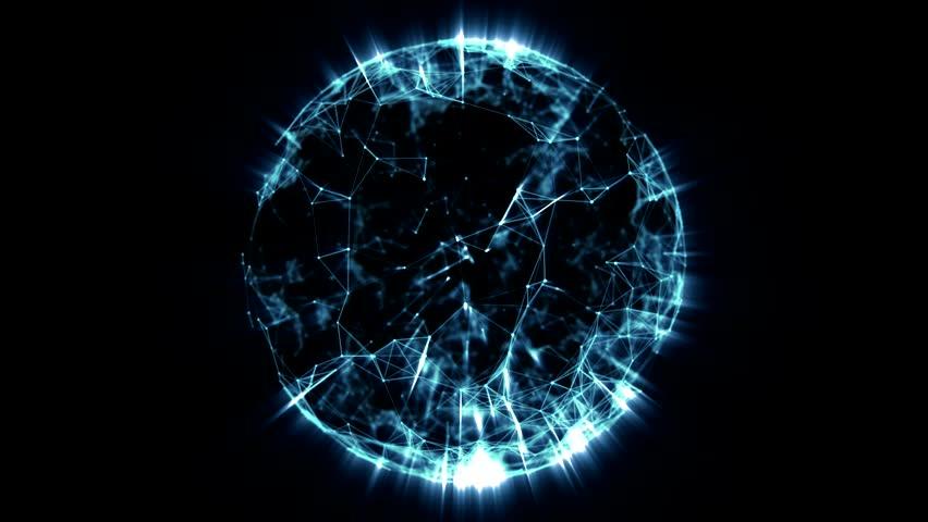 Animated rotating abstract blue sphere constructed with glowing points, lines and polygons. In 4k. | Shutterstock HD Video #9850160