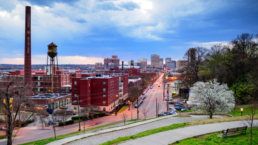 Richmond, Virginia, USA downtown skyline time lapse over Main Street. #9855155