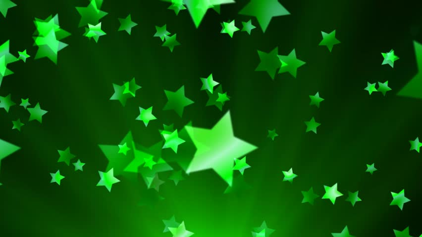 falling green star animation loop stock footage video