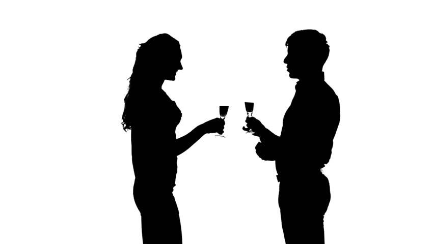 Two Friends Drinking Wine Silhouette