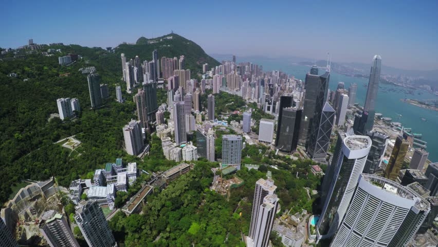 City Aerial 4K Hong Kong Island4K Aerial shot of general Hong Kong covering the premium residential area at mid level and the central business along the sides of the harbor.