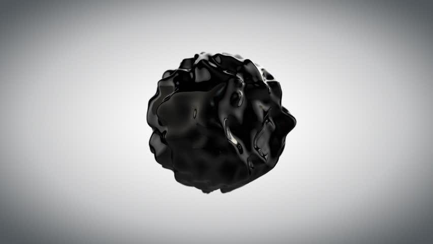Black abstract liquid sphere, wobbling fluid. Luma matte included