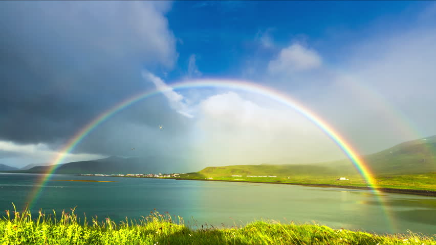 Iceland - 15 June 2015: Grass moving in the breeze and rainbow in Neighborhoods Grundarfjordur (Grundarfjörður) - a favorite place for nesting birds. 4K TimeLapse | Shutterstock HD Video #9901082