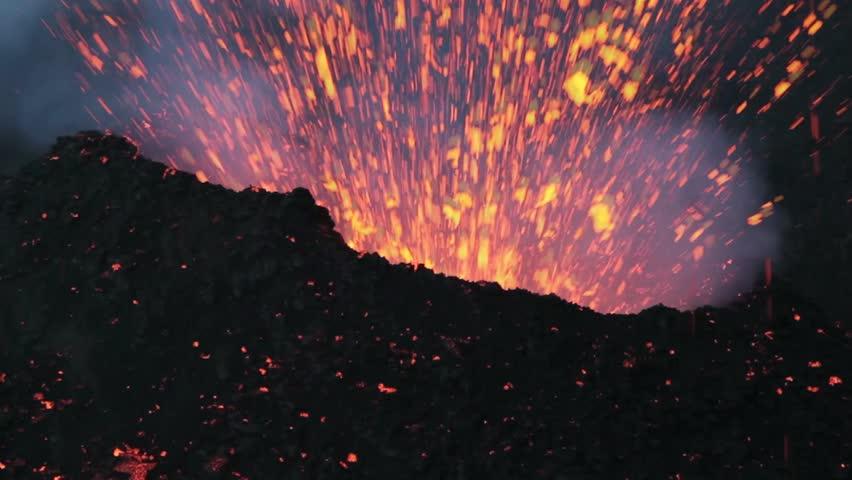 Volcanic explosive. Eruption of Volcano Etna summer 2014