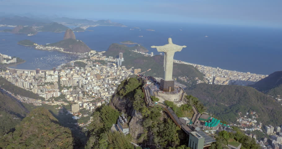 Aerial view of Christ the Redeemer and Sugarloaf, Rio de Janeiro, Brazil | Shutterstock HD Video #9938180