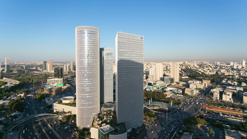 Tel Aviv Skyline From Day To Night,  Time Lapse