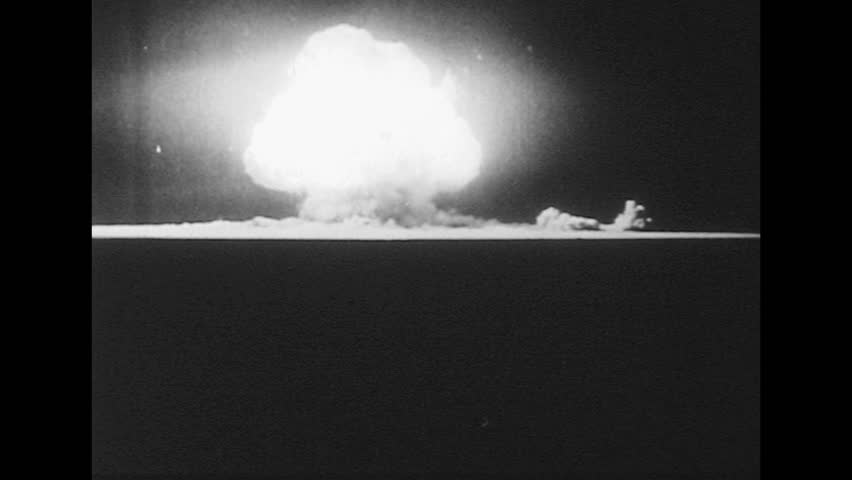 Nuclear Atomic Bomb Explosion On USA. World War. View From ...