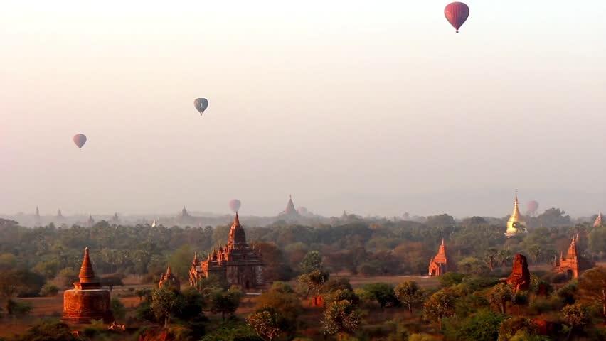 Hot Air Balloons in the air at Sunrise over Bagan, Myanmar (Burma). Beautiful scenery over Bagan's temples 2