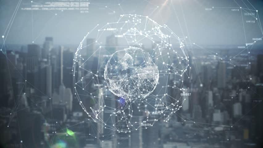 Digital animation of Global business hologram